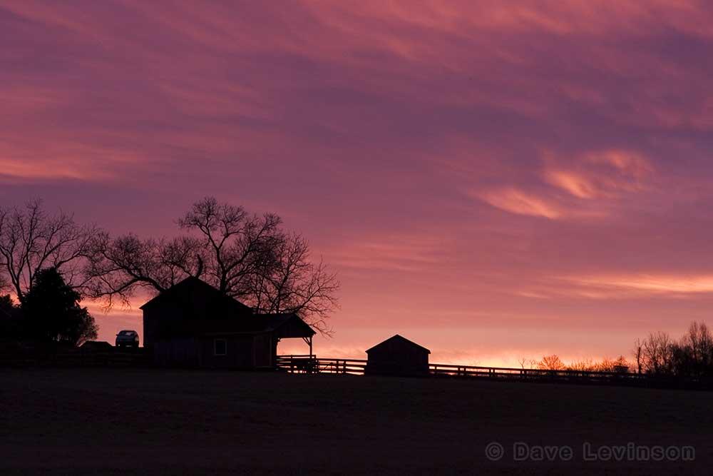 barn orange sunrise winter